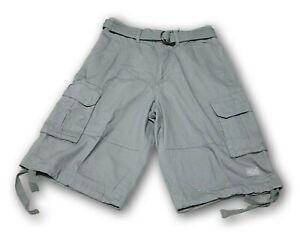 Shaka Wear Men's Gray Cargo Shorts With 6 Pockets and Belt 100% Cotton