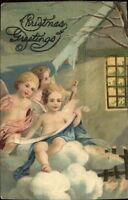 Christmas - Angel Cherub Children Outside Home in Winter c1910 Postcard