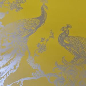 Holden Glistening Peacock Yellow Metallic Floral Trial Metallic Wallpaper 12962