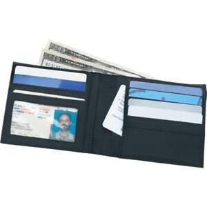 New Mens Black Solid Leather Bi-Fold Billfold Wallet 6 Credit Cards & Photo ID