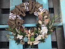 "Nautical Anchor Spring Summer Wreath Front Door Flower Sea Style Handmade 18"""