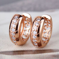 18K Hoop Earrings Women Rose Gold Plated Small Round CZ Zircon HUGGIE Jewelry