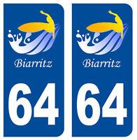 64 PYRENEES ATLANTIQUE SURF DEPARTEMENT IMMATRICULATION 2 X AUTOCOLLANTS STICKER
