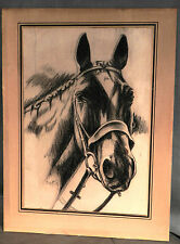 Vintage Original Horse Portrait Harness Trotter Race Drawing Charcoal PELLETIER
