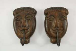 Pair Of Wooden Smiling Face Hook   Coat hanger   wall decor
