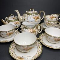 Antique Hand Painted Moriage Imperial Nippon Porcelain 16pc Tea Set 1890s