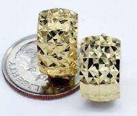 14K Solid Yellow Gold 12mm Wide Faceted Huggie Hoop Earrings (g47)