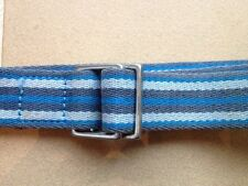 J Crew Blue Stripe Canvas 100% Cotton Cloth Unisex Adjustable Belt S-M USA