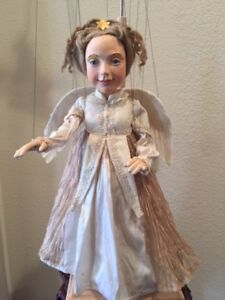 """DISPLAY Angel Marionette Art Collectible """"ANGEL w/FEATHER WINGS"""", HAND MADE OOAK"""