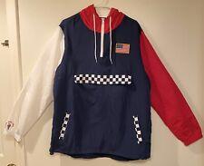 USA Flag Windbreaker Jacket Blue Red White Mens Brooklyn Cloth L Large
