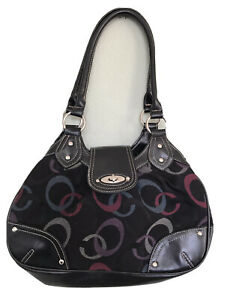 TARGET Black Purse Multicolor Large C Print Stretch Fabric & Faux Leather Hobo