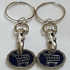 2 X Funky Trolley New Shape One Pound £1Coin Token Keyring Shopping Trolley Gift