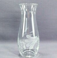 """Clear Etched With Flower And Leaf Design 6.75"""" Glass Vase"""