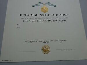 (U24) Original US Urkunde Diplome Certificate Commendation Medal Army