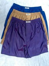 3 Boxer Shorts Sleepwear pantalones de seda tailandesa Boxers Azul Púrpura L Ropa Interior De Oro