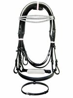 Snaffle Bridle with white crystal chain on U browband in Black