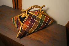 GORGEOUS Vtg KC Malhan Fortune Cookie Fold Floral Plaid Purse Handbag Bag Tote
