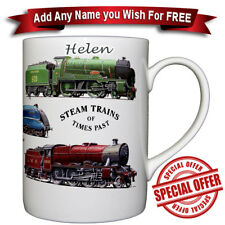 Steam Train Classic - Bone China Mug + Personalised with any name added for free