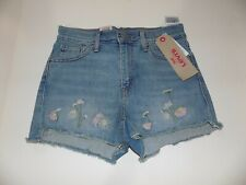 "LEVI HIGH RISE STRETCH SHORT CUTOFF SHORTS MS SZ 2 / 26"" WAIST -BLUE- NWT"