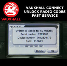 VAUXHALL RADIO PIN CODE DECODE UNLOCK TOUCH & CONNECT CORSA ZAFIRA INSIGNIA ✅
