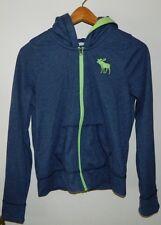 Boys Youth Abercrombie Navy Blue Long Sleeve Hooded  Track Jacket Size L