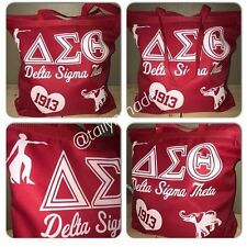 Ladies Women Glitter Glam Sorority Red Delta Sigma Theta Zipped Tote Bag