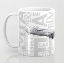 Lufthansa Boeing 747-8 with Airport Codes - Coffee Mug (11oz)