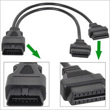 30cm OBD2 OBDII 16 pin Splitter Extension Cable Male to Dual Female Y Cable