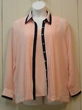 Linea by Louis Dell'Olio Chiffon Pleated Blouse w/Tank Size XL Pink