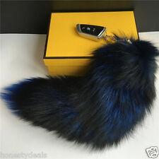 """Royal Blue/ Black 16"""" Large Genuine Real Fox Tail car Key chain Bag Charm Tassle"""