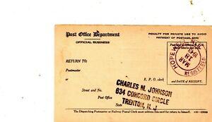 March 18 1943 Hopewell NJ Registered receiving. Registry Dispatch Receipt Card
