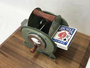 Vtg Nestor Johnson Hand Crank Card Shuffler Chicago USA Wood Handles Green Metal