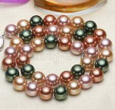 "Fashion Women's 10MM Natural Multicolor Akoya Shell Pearl Necklace 18"" AAA"