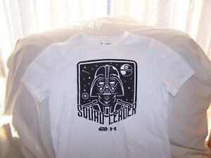 Boys Under Armour White S/S Darth Vader Star Wars SQUAD LEADER Shirt  Large