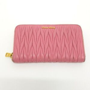 MIUMIU 5M0506 Gather Round Long Wallet (with Coin Compartment) Pink