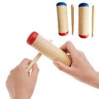 NE_ Wooden Guiro Shaker Cylinder Croaks Frog Musical Instrument Education Kids T