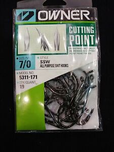 OWNER HOOKS 5311-171 SSW ALL PURPOSE BAIT Hook with Cutting Point Size 7/0