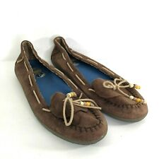 Vans Surf Siders Leather Moccasin Slip On Women's Brown US 9 EUR 40 EUC SH632