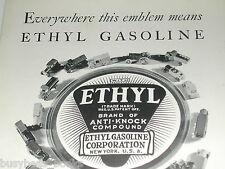 1930 Ethyl Gasoline ad with metal toy car & trucks