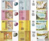ANGOLA - Lot Lotto 4 banconote 5/10/50/100 Kwanzas 2012/2017 FDS - UNC