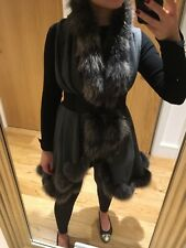100% Cashmere Fox Fur Cape Coat Poncho in Grey, One Size, Finest Quality Harrods