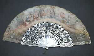 FINE ANTIQUE FRENCH CARVED MOTHER OF PEARL FIGURAL ROCOCO SCENE FAN