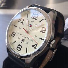 Mens Tommy Hilfiger Designer Watch 1791158 Steel Date Black Leather Genuine