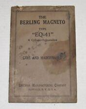 Ericsson Manufacturing Company Berling Magneto EQ41 Care & Maintenance Manual