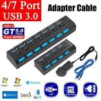 4/7 Port USB HUB 3.0 LED Powered High Speed Splitter Desktop PC Laptop Adapter
