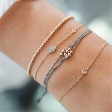 Fashion Evil Eye Palm Charm Bracelet Women Rose Gold Beaded Chain Rope Bangle
