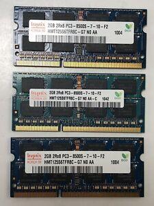 Hynix 6GB (3x2GB) 2Rx8 PC3-8500S DDR3 Laptop Memory HMT125S6TFR8C-G7  MV1195