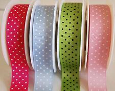 22mm Polka Dot Grosgrain Ribbon 3m,5m,10m,20m Pink, Fuchsia, Lime, Blue