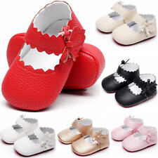 Newborn Baby Toddler Girl Crib Shoes Leather Prewalker Anti-slip Moccasins