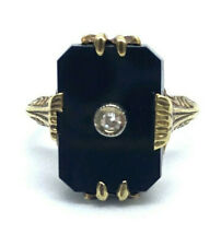 Vintage Ladies 14k Gold Filigree Art Deco Ring w/ Onyx & Diamond Ring Size 4.25